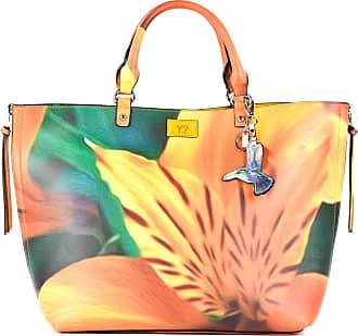 Y Not YNOT? Handbag with shoulder strap, reversible (macroflower/yellow) MAC-004 - cm.42x27x14