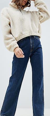 Weekday Row - Jeans mit hohem Bund aus Bio-Baumwolle in Win-Blau