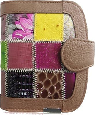 Your Dezire Ladies Girls Designer Patchwork Real Leather Coin Purse Womens Wallet Card Holder Bag (Khaki)