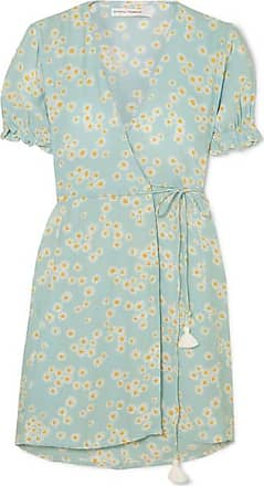 Faithfull The Brand Mira Floral-print Crepe Wrap Mini Dress - Sky blue