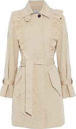 Joie Joie Woman Gila Ruffle-trimmed Cotton-blend Twill Trench Coat Beige Size M