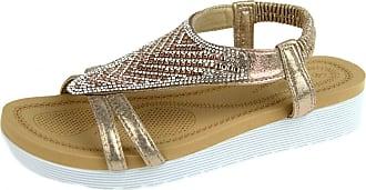 Lora Dora Womens Jewel Wedge Sandals Elastic Stretch Shoes Full Top Rose Gold UK 6