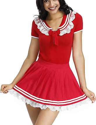 FeelinGirl Womens Sexy Lingerie Adult Baby Onesie Cotton Diaper Lover (ABDL) Snap Crotch Pajamas Cosplay Uniform Erotic Naughty Cute Skirt Red-Bowknot XXL