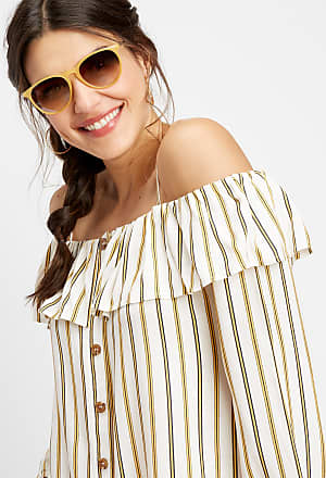 4e62a00fe92 Maurices Stripe Button Cold Shoulder Top. In high demand