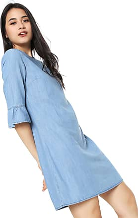 8f515161c Malwee Vestido Jeans Malwee Curto Babado Manga Azul