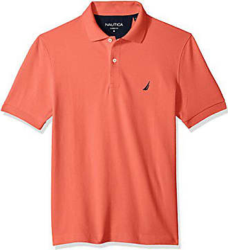 Nautica Mens Classic Short Sleeve Solid Cotton Pique Polo Shirt, Dreamy Coral, Small