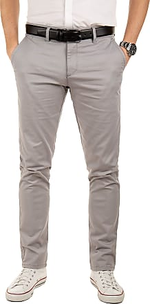 Yazubi Mens Chinos Pants Dustin Trousers with Belt Slim Fit - Belted Pure Chino Trousers Light Silver Iron, Grey (Gull 4R173802), W30/L34