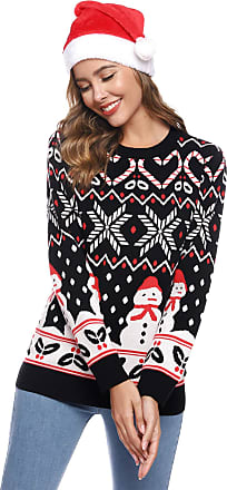 Aibrou Womens Christmas Knitted Jumper, Long Sleeve Novelty Snowman Xmas Sweater Knitwear Tops for Ladies Black