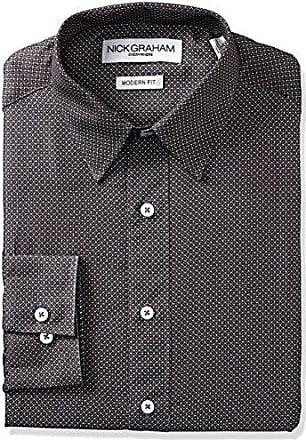 Nick Graham Everywhere Mens Dot Grid Print Dress Shirt, Black, 16-16.5 Neck 34-35 Sleeve