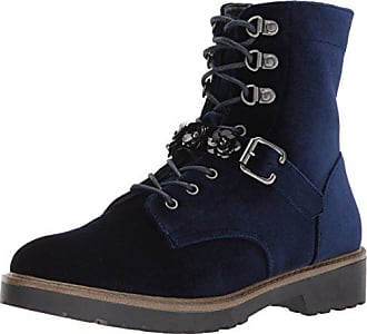 xoxo Womens Kason Combat Boot, Blue Velvet, 6 M US