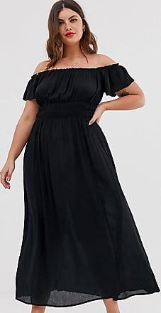 Asos Curve ASOS DESIGN Curve - Vestito lungo stropicciato con spalle scoperte-Nero