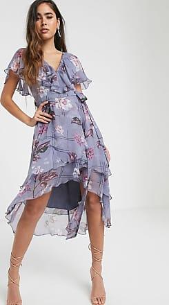 Asos Vestito midi asimmetrico con mantella e tenue stampa a quadri e fiori-Multicolore