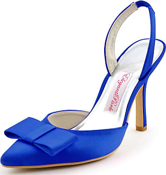 Elegantpark HC1404 Women Pointy Toe Sandals High Heels Slingback Bow Satin Wedding Party Court Shoes Blue UK 5