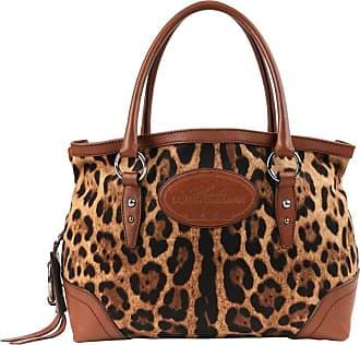 Dolce   Gabbana Animalier Leopard Animal Print Canvas   Brown Leather  Satchel 36adec96a5