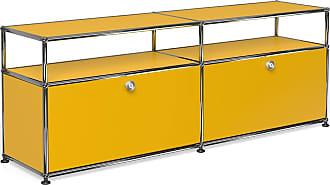 USM Haller Lowboard mit 2 Klapptüren - goldgelb RAL 1004/152.3 x 56.5 x 37.3 cm/2 offene Fächer ohne Rückwand