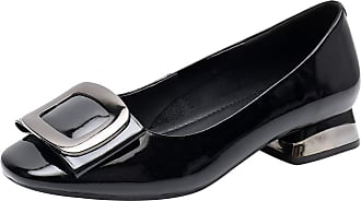 Jamron Womens Fashion Square Toe Chunky Heel Patent Leather Pumps Shoes Black SN02613 UK7.5