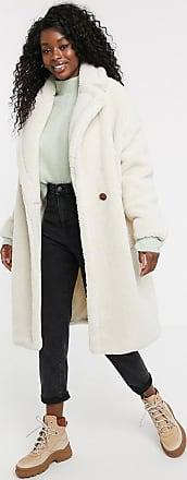 Qed London Teddyfell-Mantel im Oversize-Stil-Cremeweiß