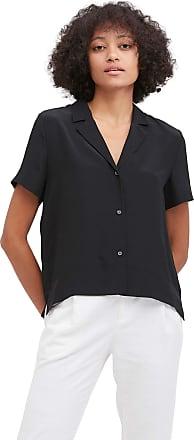 LilySilk 100% Silk Shirt for Women V Neck Half-Sleeve Notched Collar Blouse Lady Black, S