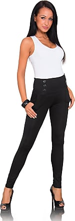 FUTURO FASHION Womens Skinny Trousers with Buttons and Pockets Formal Viscose High Waist Pants 1052 Black 16 UK (XXL)