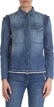7 For All Mankind Boxy shirt in blue denim