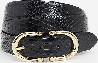Glamorous Curve black mock croc waist and hip jeans belt with gold double buckle