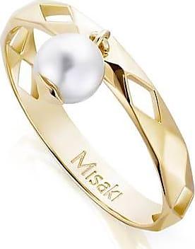 Misaki Bague fine Marimba dorée avec perle blanche - taille 50