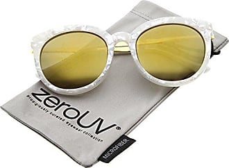 a4b69837f zeroUV Womens Oversized Marble Finish Metal Temple Mirrored Lens Round  Sunglasses, White Gold, 55