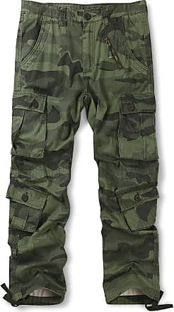 OCHENTA Mens Cotton Casual Military Army Camo Combat Trousers,Wild Cargo Pants with 8 Pockets 3357 Camo Z Green 34