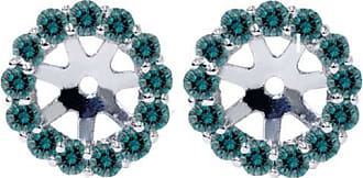 Pompeii3 70CT Halo Blue Diamond Earring Jackets 14K White Gold Fits 4.5-6MM Round Stones