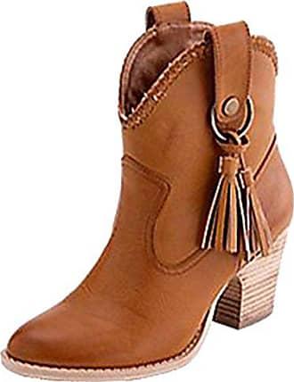 5b4ee565a1f6ec Aiyoumei Damen Ankle Boots Stiefeletten mit Fransen und Blockabsatz 7cm  Absatz High Heels Kurzschaft Stiefel