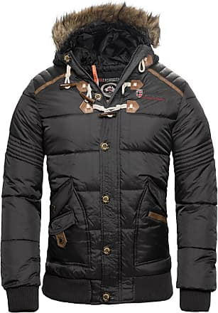 Geographical Norway Mens Winter Jacket Quilted Jacket Parka Belphegor Winter Jacket with Norway Neckerchief - Grey - Large