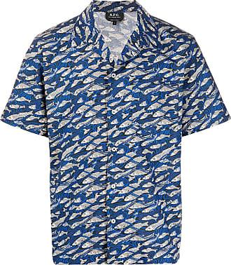 A.P.C. Camisa com estampa de peixe - Azul