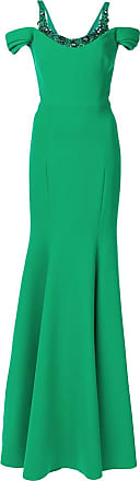 Marchesa cold shoulder stretch crepe gown - Green
