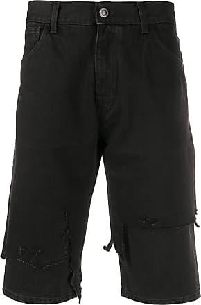 Raf Simons Bermuda jeans slim com efeito destroyed - Preto