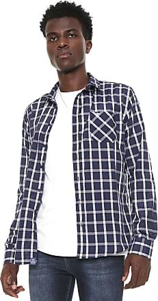 Triton Camisa Triton Reta Xadrez Azul-Marinho/Branca