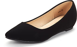 Dream Pairs Womens Jilian Slip On Pointed Toe Low Wedge Ballet Flats Pumps Shoes Black Nubuck Size 7 US / 5 UK