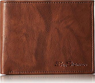 Ben Sherman Manchester Full Grain Marble Crunch Leather Passcase Wallet With Flip Up ID Window (RFID), Brown