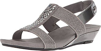 Anne Klein AK Sport Womens IDOLIZE Stretch Sandal Wedge, Pewter Multi Fabric, 8 M US