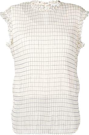 Calvin Klein ruffle-trim check blouse - Neutrals