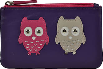 Ladies Large Flap Over LEATHER PURSE WALLET by Mala; Kyoto Collection Cute OWLS