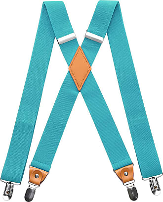 Hisdern Mens Braces with Very Strong 4 Clips Heavy Duty Suspenders X Style Aqua Adjustable Suspender Turquoise