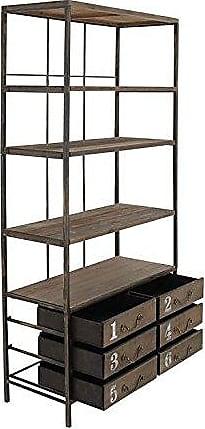 UMA Enterprises Inc. Deco 79 50942 Tall Industrial Brown Metal & Wood Bookshelf with 6 Drawers, 36 x 78