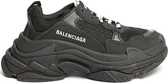 Balenciaga Triple S Leather And Mesh Trainers - Womens - Black