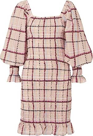 Ganni Shirred Checked Cotton And Silk-blend Mini Dress - Pink