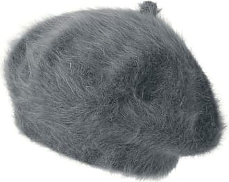 Ililily Solid Color Angora French Beret Furry Artist Flat Winter Hat, Dark Grey with Tab