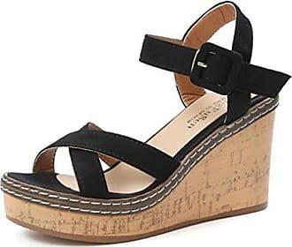 Xianshu Neue Einfache Keilabsatz mit Wildleder Mode Damen Schuhe Bequeme  Sandalen (Schwarz-35.5) 01d24fcdc9
