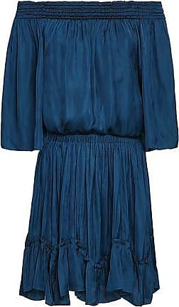 Halston Heritage Halston Heritage Woman Off-the-shoulder Ruched Satin Mini Dress Royal Blue Size XS