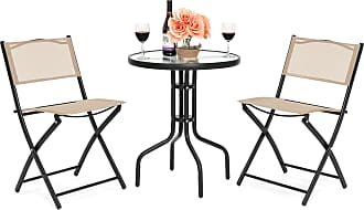 Best Choice Products 3-Piece Patio Bistro Dining Furniture Set w/ Round Textured Glass Tabletop, 2 Folding Chairs -Beige - Beige