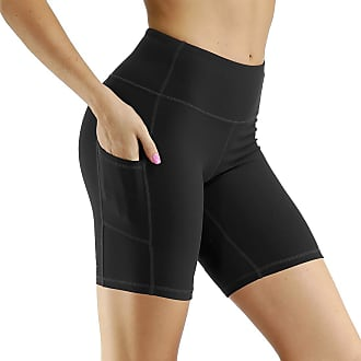 OLIPHEE Womens Yoga Pants High Waist Workout Running Shorts Tummy Control Stretch Soft Leggings with Side Pocket Black XL