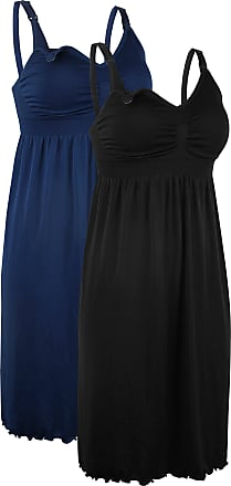 iLoveSIA 2Pack Womens Maternity Nursing Dress Built in Bra Nightdress for Breatfeeding Black+Deep Blue Size 3XL